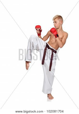 Karate Boy With Red Gloves