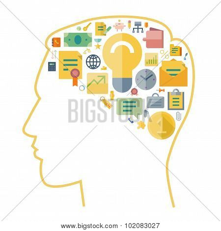 Icons For Business Arranged In Human Brain Shape