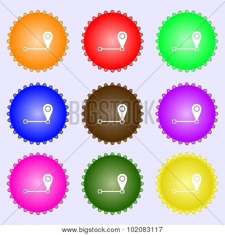 Map Pointer Icon Sign. A Set Of Nine Different Colored Labels. Vector