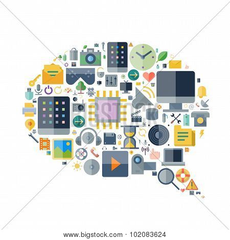 Icons For Technology Arranged In Speech Bubble Shape