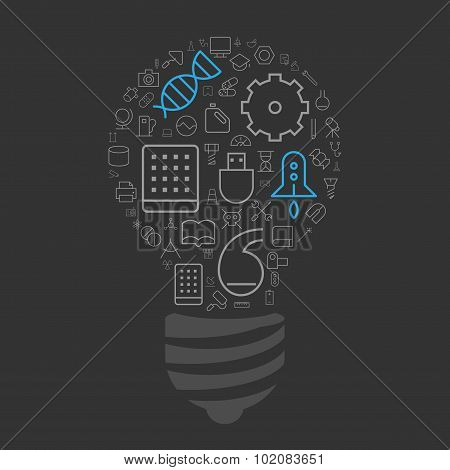 Icons For Science, Technology And Industrial In Light Bulb