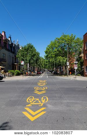 Cycle Lane Symbol In Montreal
