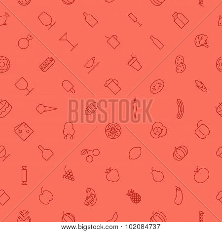 Seamless Background Pattern For Food And Drinks
