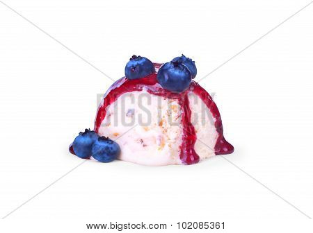 Ice-cream Dessert Topped With  Blueberries Syrup  On A White Background