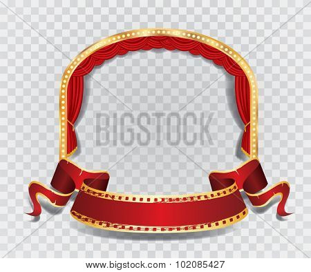 vector ellipse stage with red curtain, golden frame, bulb lamps and transparent shadow