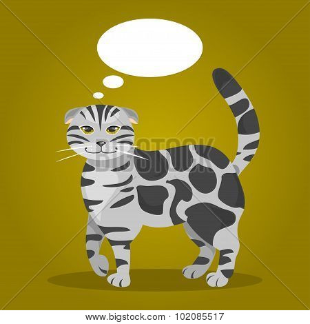 Cat With Thought Bubbles. Vector Illustration