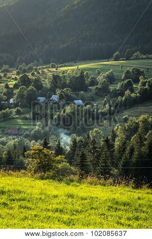 Mountain Village In The Forests Of Central Europe