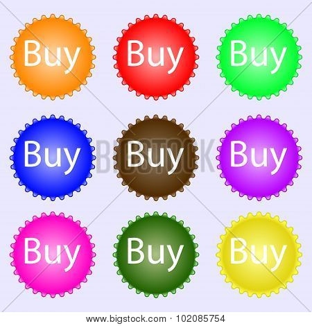 Buy Sign Icon. Online Buying Dollar Usd Button. A Set Of Nine Different Colored Labels. Vector