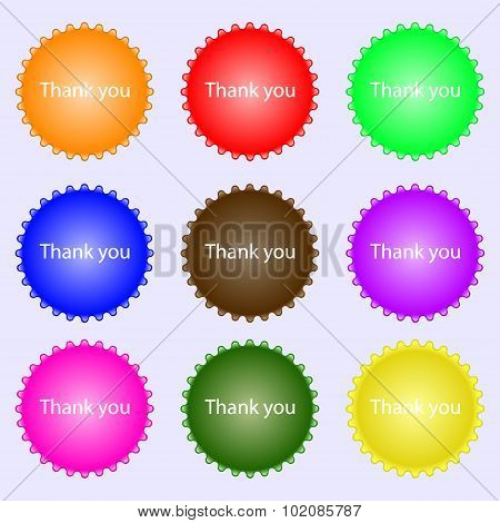 Thank You Sign Icon. Gratitude Symbol. A Set Of Nine Different Colored Labels. Vector
