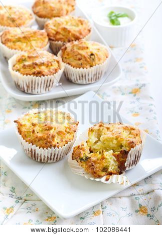 Savory Courgette, Herbs And Feta Muffins
