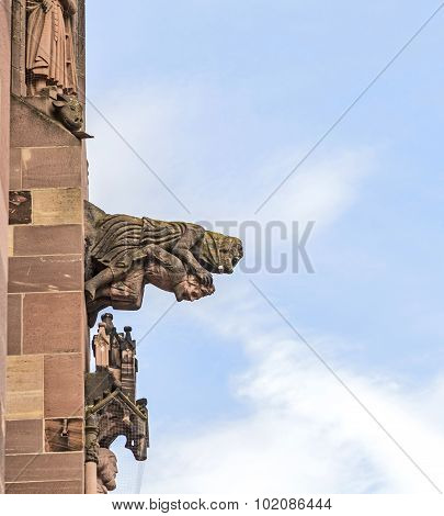 Gargoyle Made Of Sandstone At Freiburg Minster