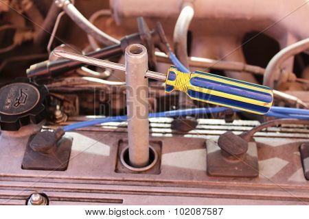 Wrench For Spark Plugs With A Screwdriver