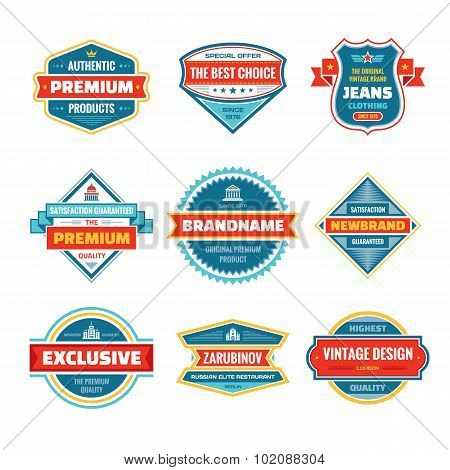 Vector graphic badges collection. Original vintage badges. Creative logo vector set.