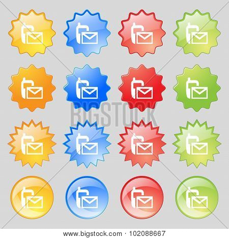 Mail Icon. Envelope Symbol. Message Sms Sign. Big Set Of 16 Colorful Modern Buttons For Your Design.
