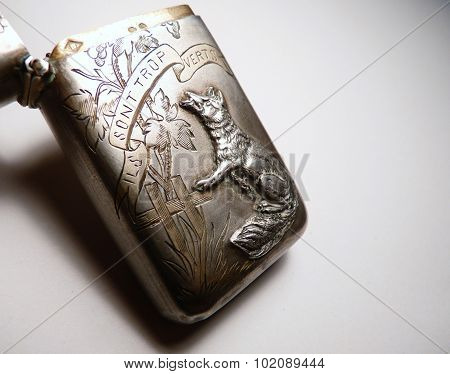 antique french fox sterling silver vesta case NO TRADEMARK