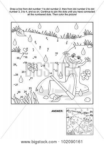 Dot-to-dot and coloring page - umbrella, gumboots, frog
