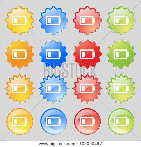 Battery Low Level Sign Icon. Electricity Symbol. Big Set Of 16 Colorful Modern Buttons For Your Desi