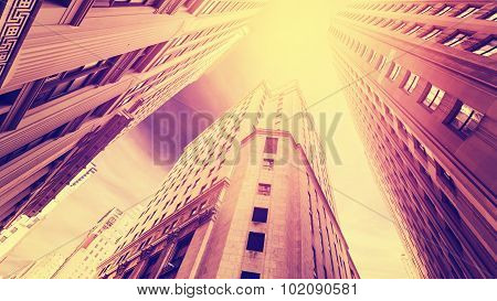 Vintage Filtered Photo Of Skyscrapers In Manhattan At Sunset,