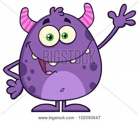 Cute Monster Cartoon Character Waving
