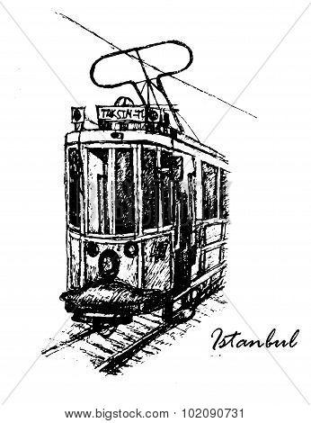 vintage tram Taksim-Tünel on Istiklal Street in Istanbul sketch vector illustration