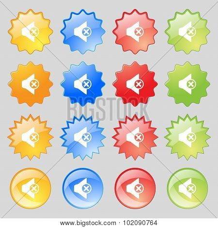 Mute Speaker Sign Icon. Sound Symbol. Big Set Of 16 Colorful Modern Buttons For Your Design. Vector