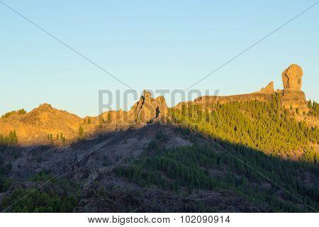 Gran Canaria, Caldera De Tejeda, Sunrise Over Roque Nublo Rock Mountain Range