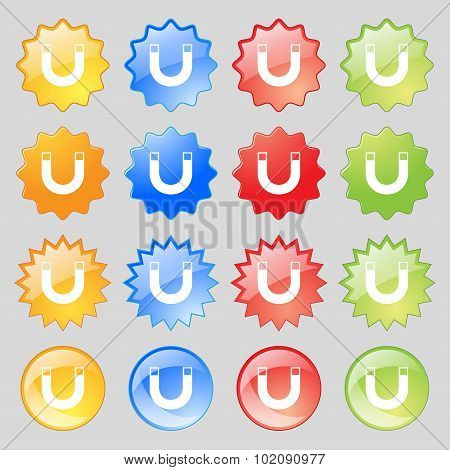 Magnet Sign Icon. Horseshoe It Symbol. Repair Sig. Big Set Of 16 Colorful Modern Buttons For Your De