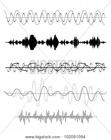 Set of Sound Waves. Vector Illustration.