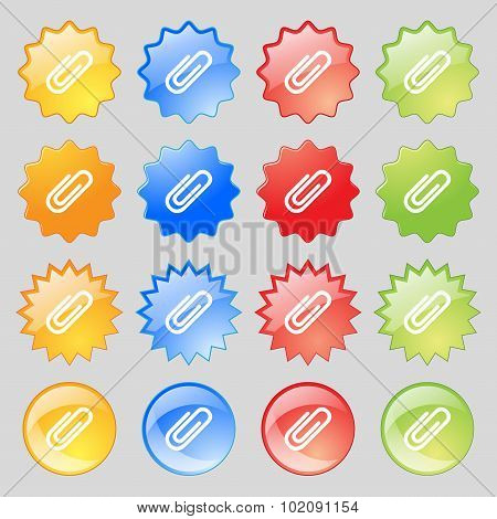 Paper Clip Sign Icon. Clip Symbol. Big Set Of 16 Colorful Modern Buttons For Your Design. Vector