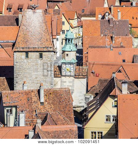 Red Shingle Roofs In Rothenburg Ob Der Tauber