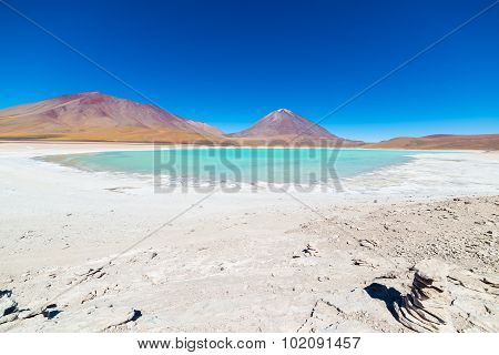 Green Lagoon And Licancabur Volcano On The Bolivian Andes