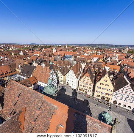 ROTHENBURG OB DER TAUBER, GERMANY - JUNE 17, 2009: skyline of Rothenburg ob der Tauber in  Bavaria Germany under blue sky