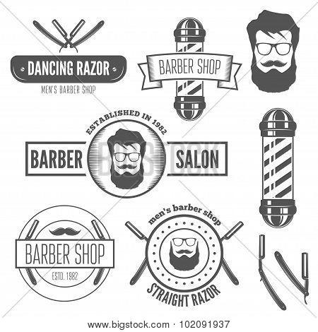 Set of vintage badge, emblem or logotype elements for barber shop and salon