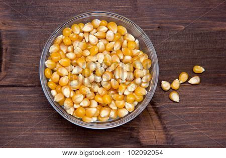 Maize grains dried on wood from above