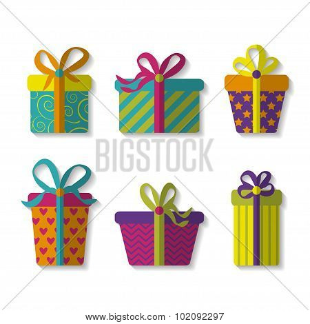 vector set of cute colorful gift boxes