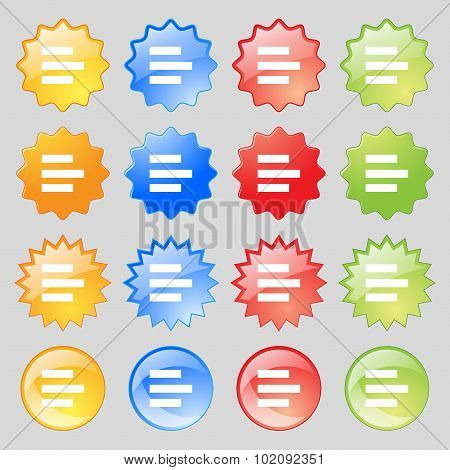Left-aligned Icon Sign. Big Set Of 16 Colorful Modern Buttons For Your Design. Vector