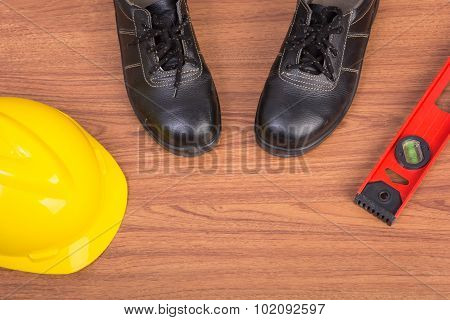 Top View Safety Shoes And Composition Of Working Tools