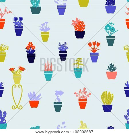 Garden Flowers  And  Herbs In Pots - Illustration