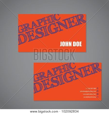 Scribbled Text Business Card In Orange Blue And White Color Combo