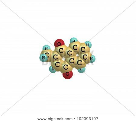 Menadione - vitamin K3 - is a synthetic chemical compound sometimes used as a nutritional supplement because of its vitamin K activity. 3d illustration