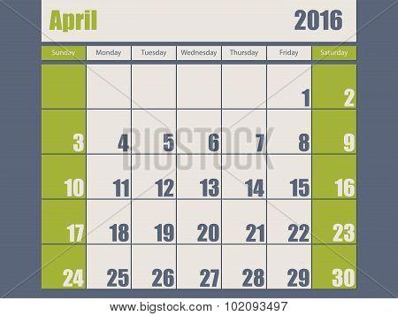 Blue Green Colored 2016 April Calendar