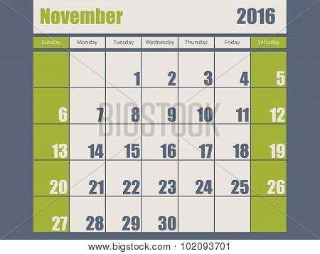 Blue Green Colored 2016 November Calendar