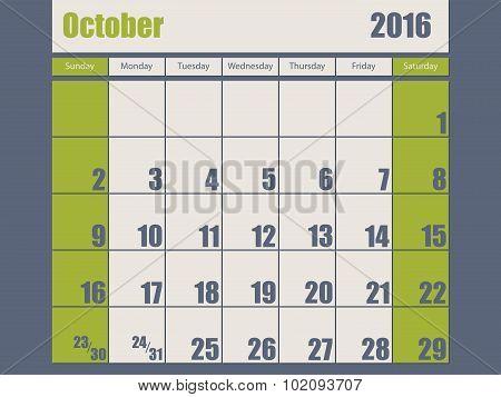Blue Green Colored 2016 October Calendar