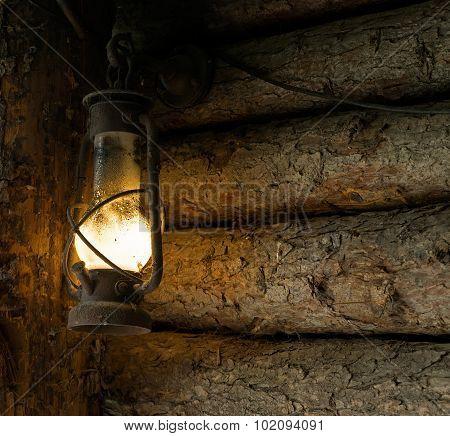 Oil Lamp In The Old Mine