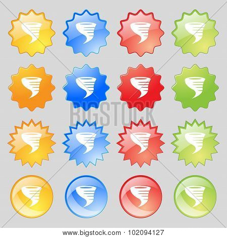 Tornado Icon. Big Set Of 16 Colorful Modern Buttons For Your Design. Vector