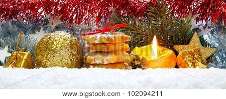 Christmas decoration and advent candle.