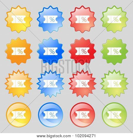 Ticket Discount Icon Sign. Big Set Of 16 Colorful Modern Buttons For Your Design. Vector