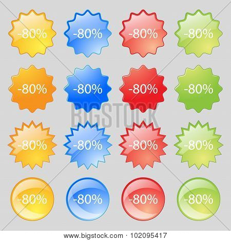 80 Percent Discount Sign Icon. Sale Symbol. Special Offer Label. Big Set Of 16 Colorful Modern Butto
