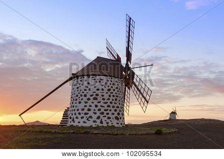 Historic windmills near La Oliva, Fuerteventura