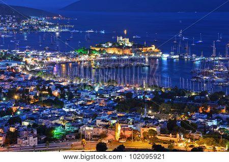 View Of Bodrum Harbor And Castle Of St. Peter By Night